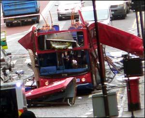 Blown up bus
